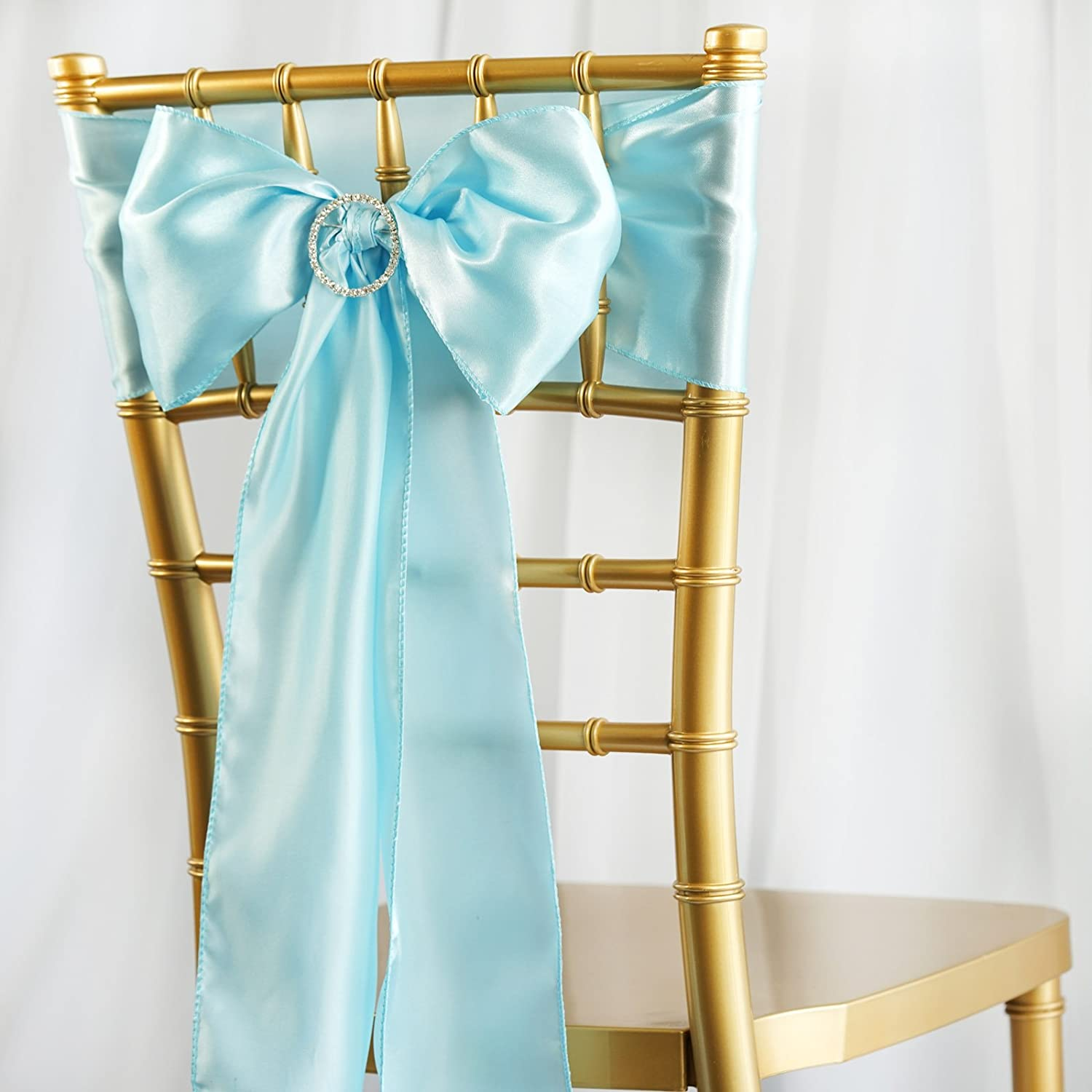 BalsaCircle 50 Light Blue Satin Chair Sashes Bows Ties for Wedding Party Ceremony Reception Event Decorations Supplies