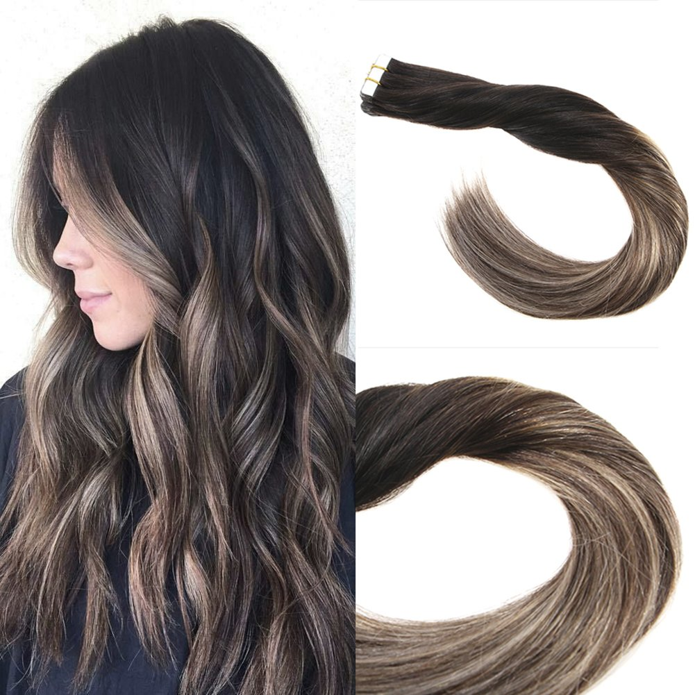 Amazon Sunny 14inch Tape Hair Extensions Human Hair Color 1b