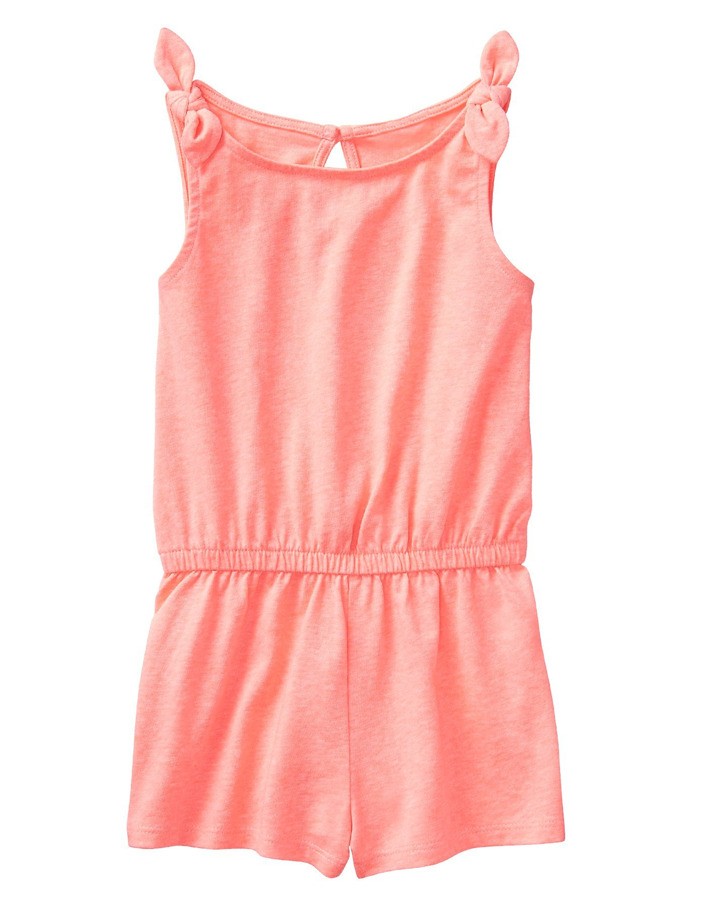 Crazy 8 Girls' Toddler Elastic Waist Knot Sleeve Knit Romper, neon Light Coral, 4T
