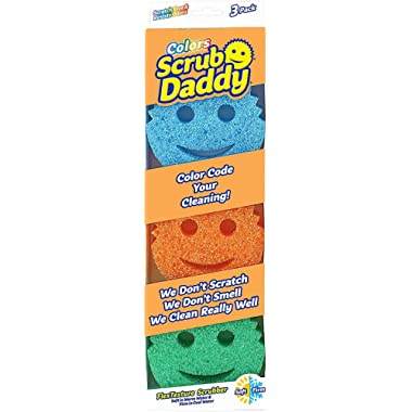 Scrub Daddy Colors Sponge Set - FlexTexture Sponge, Soft in Warm Water, Firm in Cold, Deep Cleaning, Dishwasher Safe, Multi-use, Scratch Free, Odor Resistant, Functional, Ergonomic, 3ct