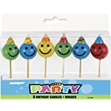 Smiley Face Birthday Candles, Assorted Pack of 6