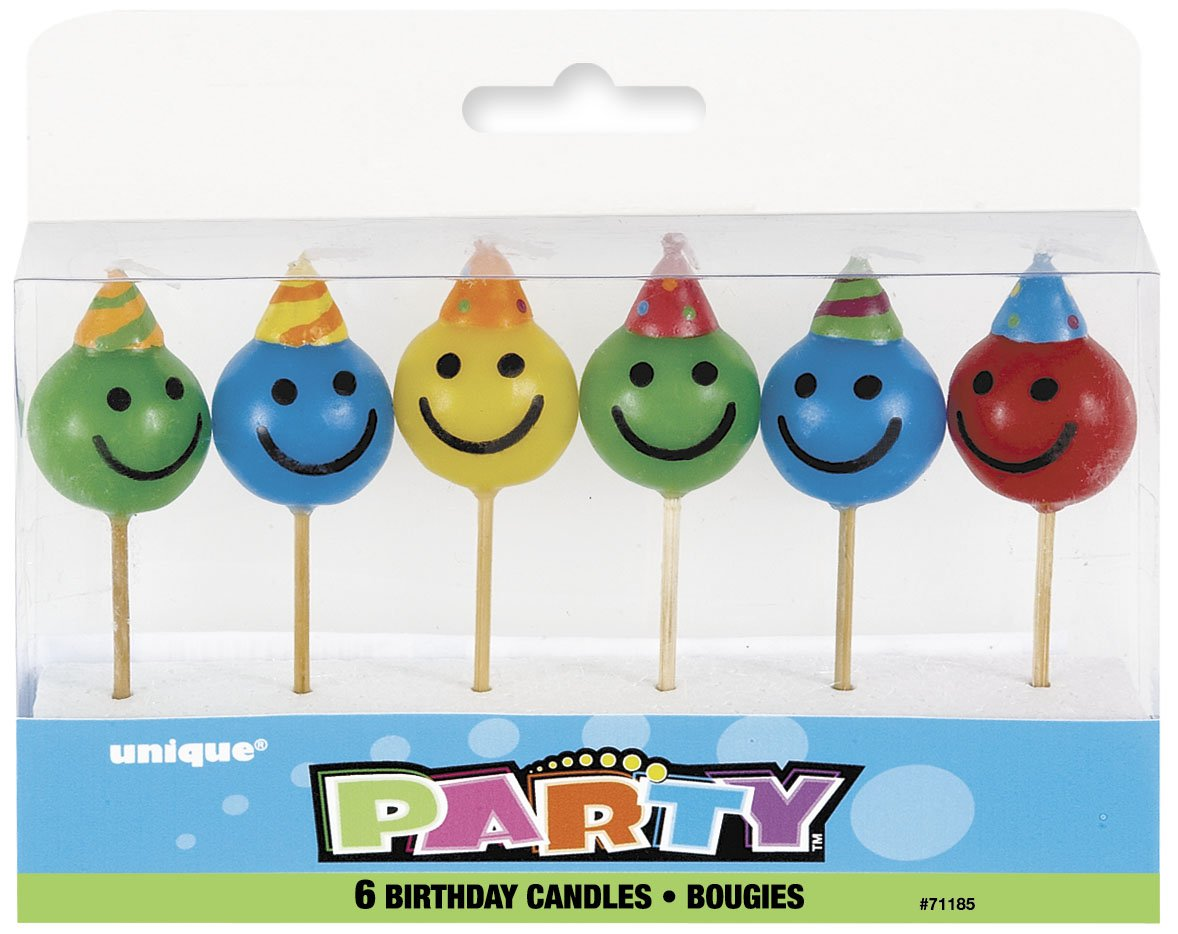 Amazoncom Smiley Face Birthday Candles 6ct Kitchen Dining