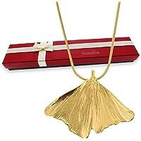 Pendentif Ginkgo plaqué or avec personnalisation à offrir en cadeau d'amour pour la fête des mères, pour la St Valentin, pour une déclaration d'amour ou pour un anniversaire de mariage