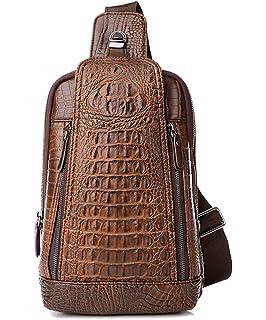 c6b6a7cc0ad8 Amazon.com: Sunmig Men's Crocodile Genuine Leather Crossbody Chest ...
