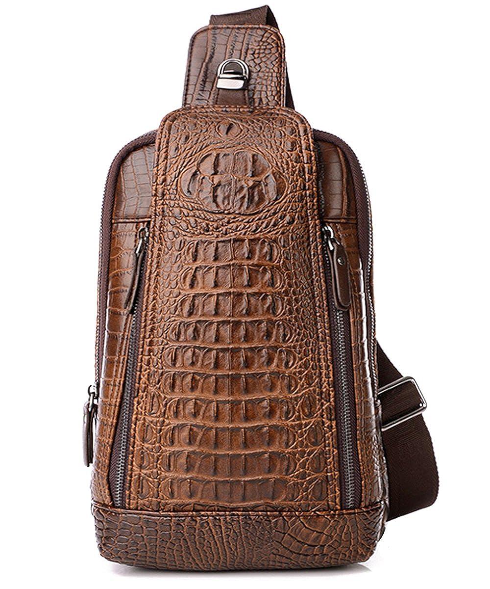 FiveloveTwo Multi-usage Cuir PU Sling Bag Sacs Bandouli/ère /Épaule D/és/équilibre Sac /à poitrine dos portatif pour Hommes Messenger Bag