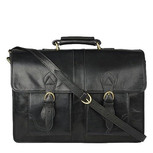 7cb6412c8c24 Hidesign Review Briefcase Bag - Messenger Bag - Leather Bag - Laptop Bag - Shoulder  Bag - For Men - Suitable For 17? Laptop - Business Handbag - Travel Bag ...