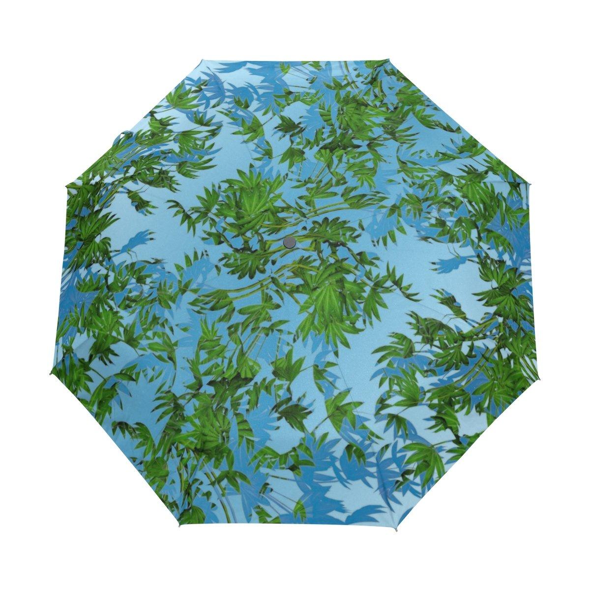 lavovoグリーンブルーリーフ傘ダブルキャノピー自動オープンand Close折りたたみ式旅行雨傘   B073TSVKZ9