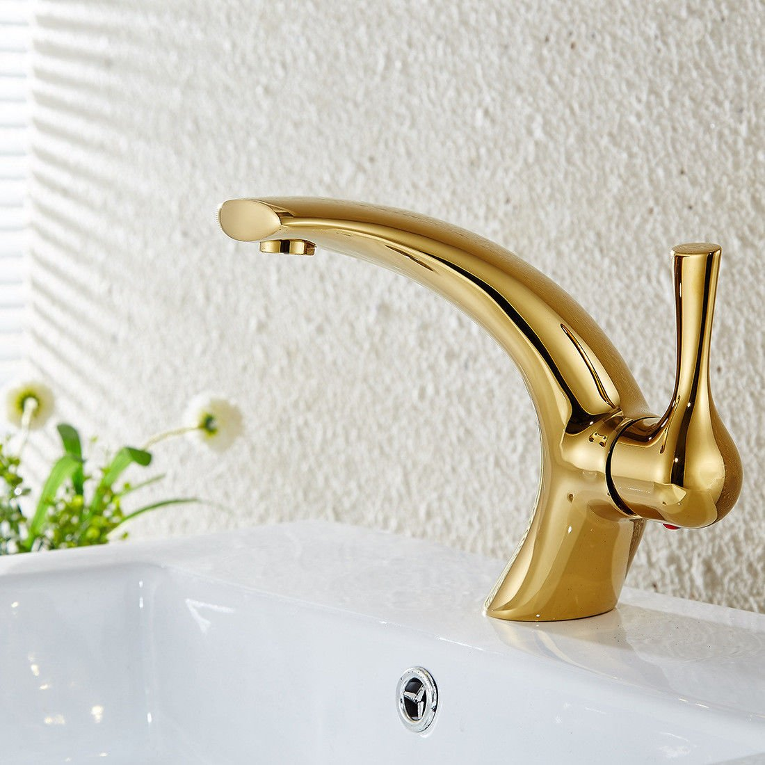 Good quality Antiquitäten Becken Spül Mischer Tap Bad Waschbecken Mixer Vollkupfer Gold einzigen Loch einzigen Griff Heißes und Kaltes Wasser Mixer