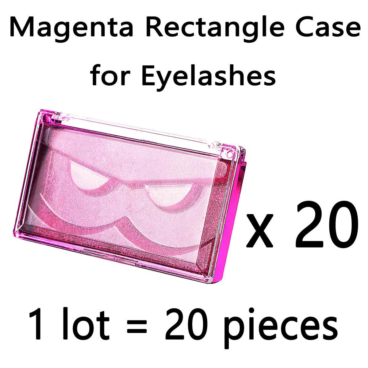 20pcs Magenta Rectangle Lash Cases Professional Big Size Case for Eyelashes