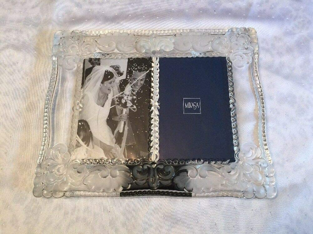 "Mikasa Spring Garden Double 4"" x 6"" Heavy Glass Photo Frame - Wedding"
