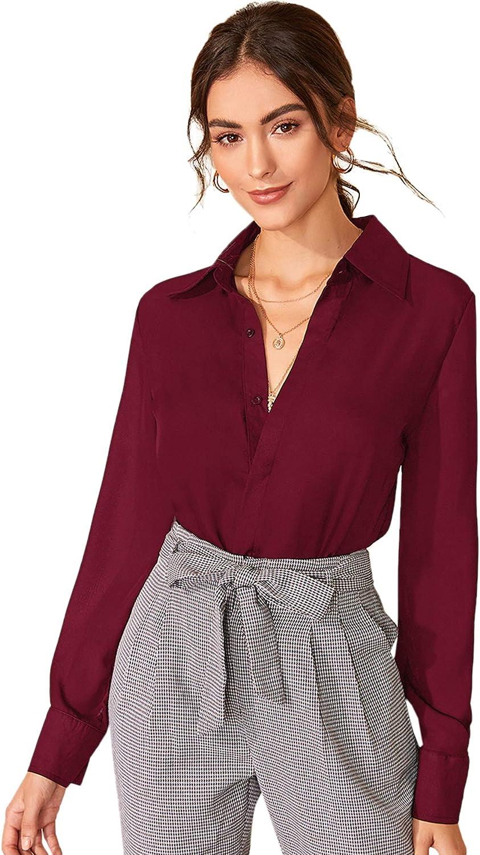 Floerns Women's Long Sleeve Button Up Shirts Chiffon Office Work Blouse Top