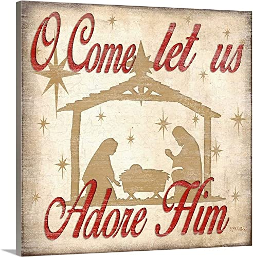 Adore Him Nativity Red Canvas Wall Art Print