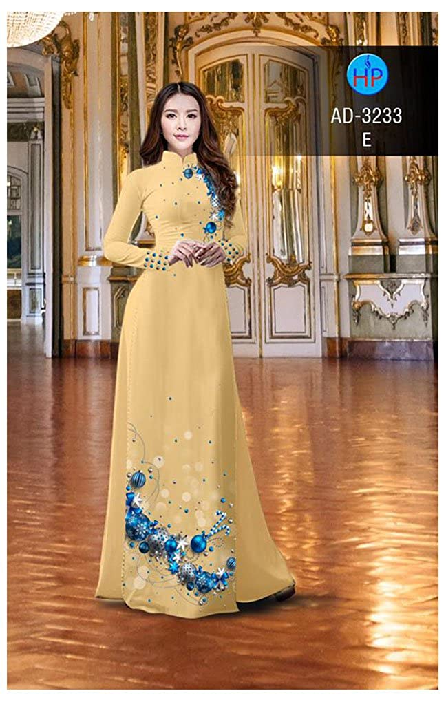 Ao Dai Silk 3D Traditional Vietnamese Long Dress Collections with Pants ADVN1089 All Size