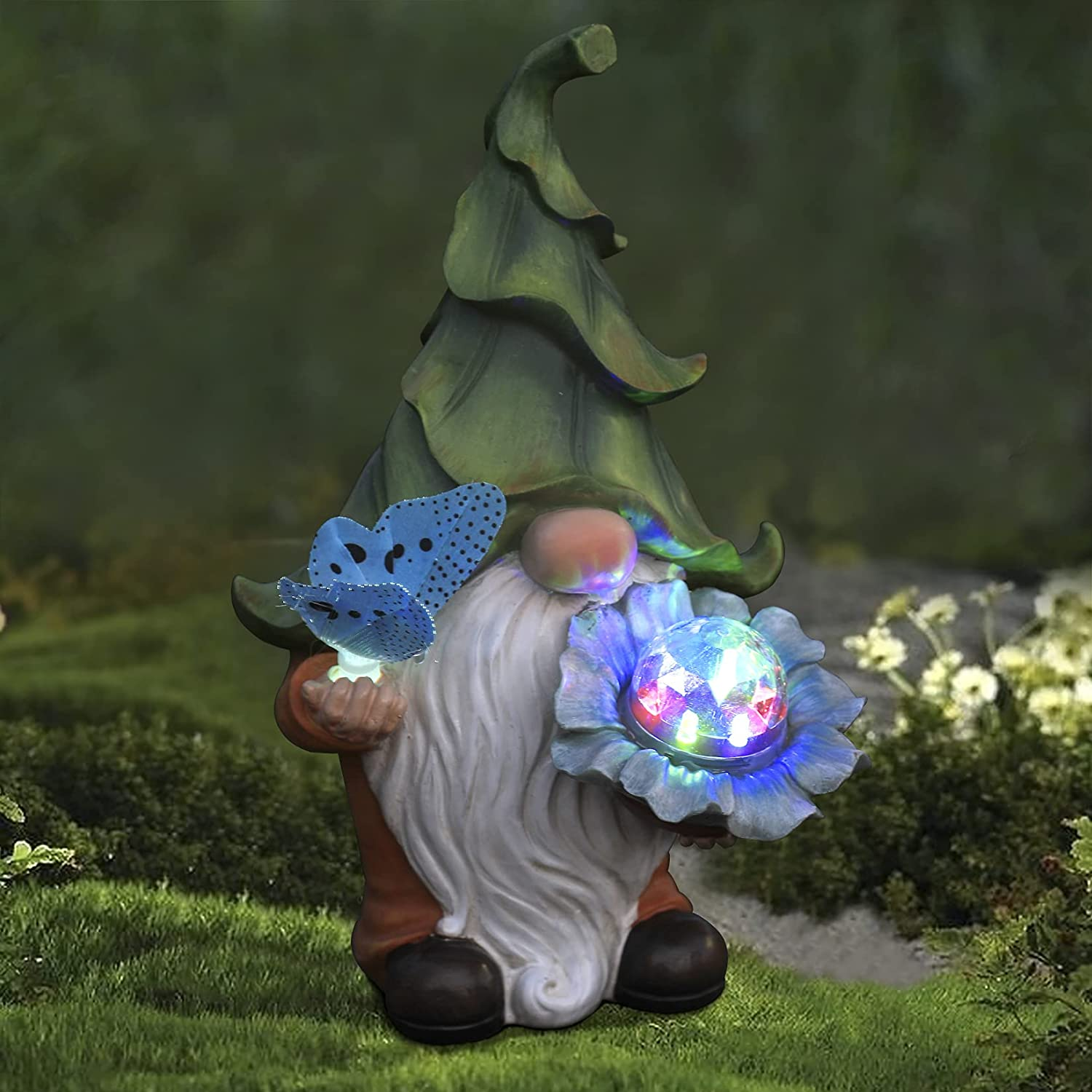 Garden Gnome Statue - Resin Gnome Figurine Holding Magic Orb and Butterfly with Solar LED Lights, Outdoor Summer Decoration for Patio Yard Lawn Porch, Ornament Gifts for Mom