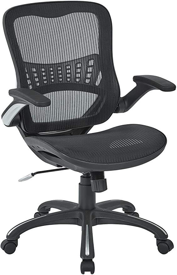 Amazon Com Office Star Mesh Back Seat 2 To 1 Synchro Lumbar Support Managers Chair Black Furniture Decor