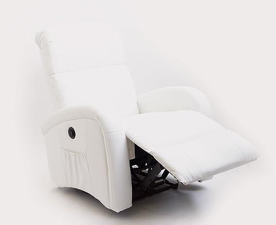 Astan Hogar Sillón Relax con Reclinación Eléctrica, Masaje Y Termoterapia. Modelo Adara AH-AR30500BL, Piel, Blanco,