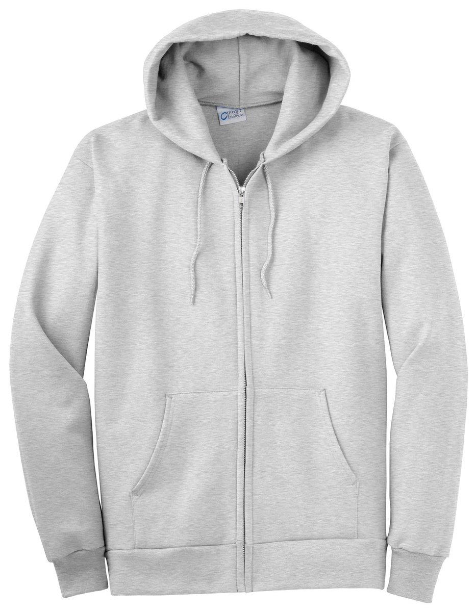 Port & Company Men's Big And Tall Full-Zip Hooded Sweatshirt Ash