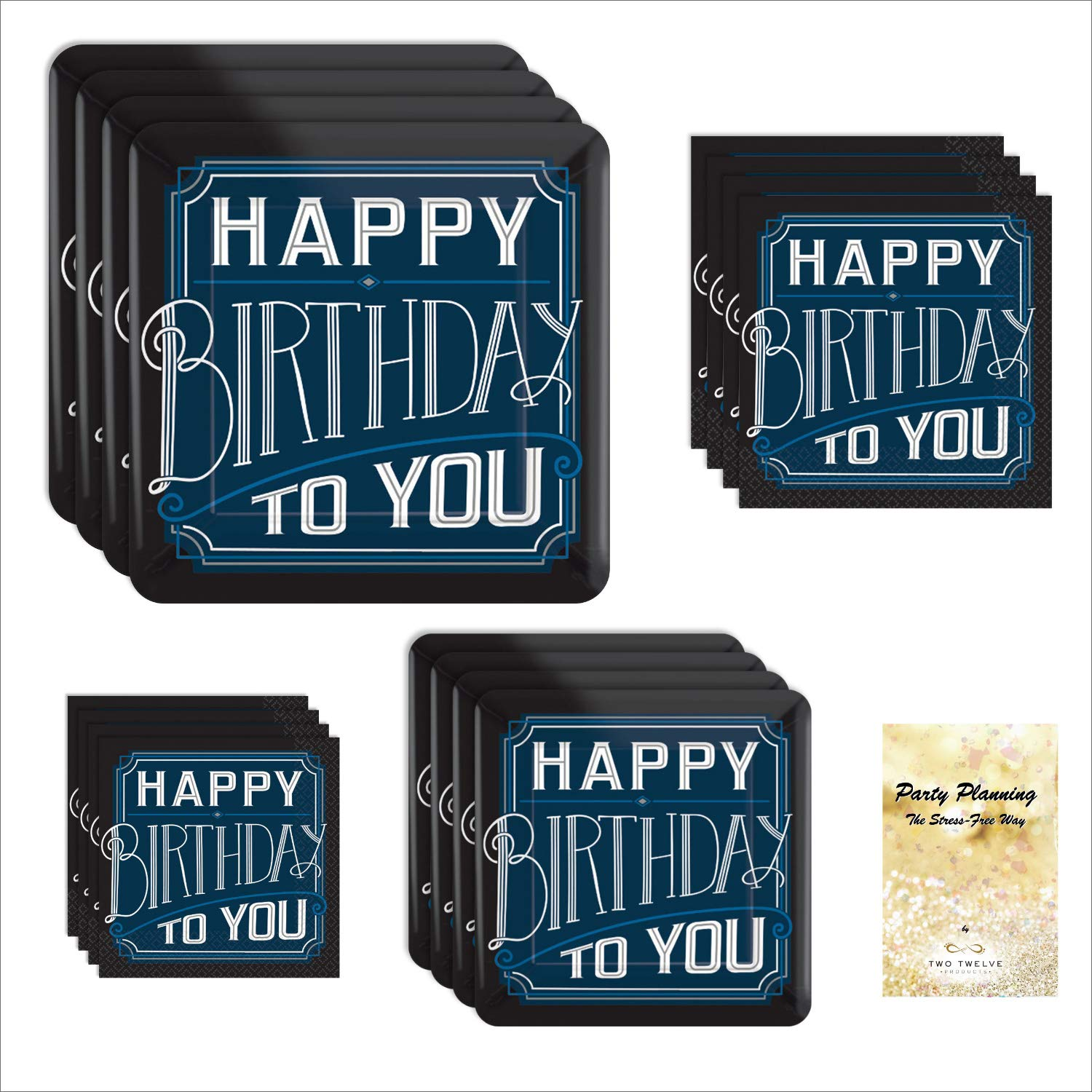Man Birthday Party Supplies, Black and Blue Square Design, 16 Guests, 65 Pieces, Disposable Paper Dinnerware, Plate and Napkin Set by TwoTwelve Products (Image #1)
