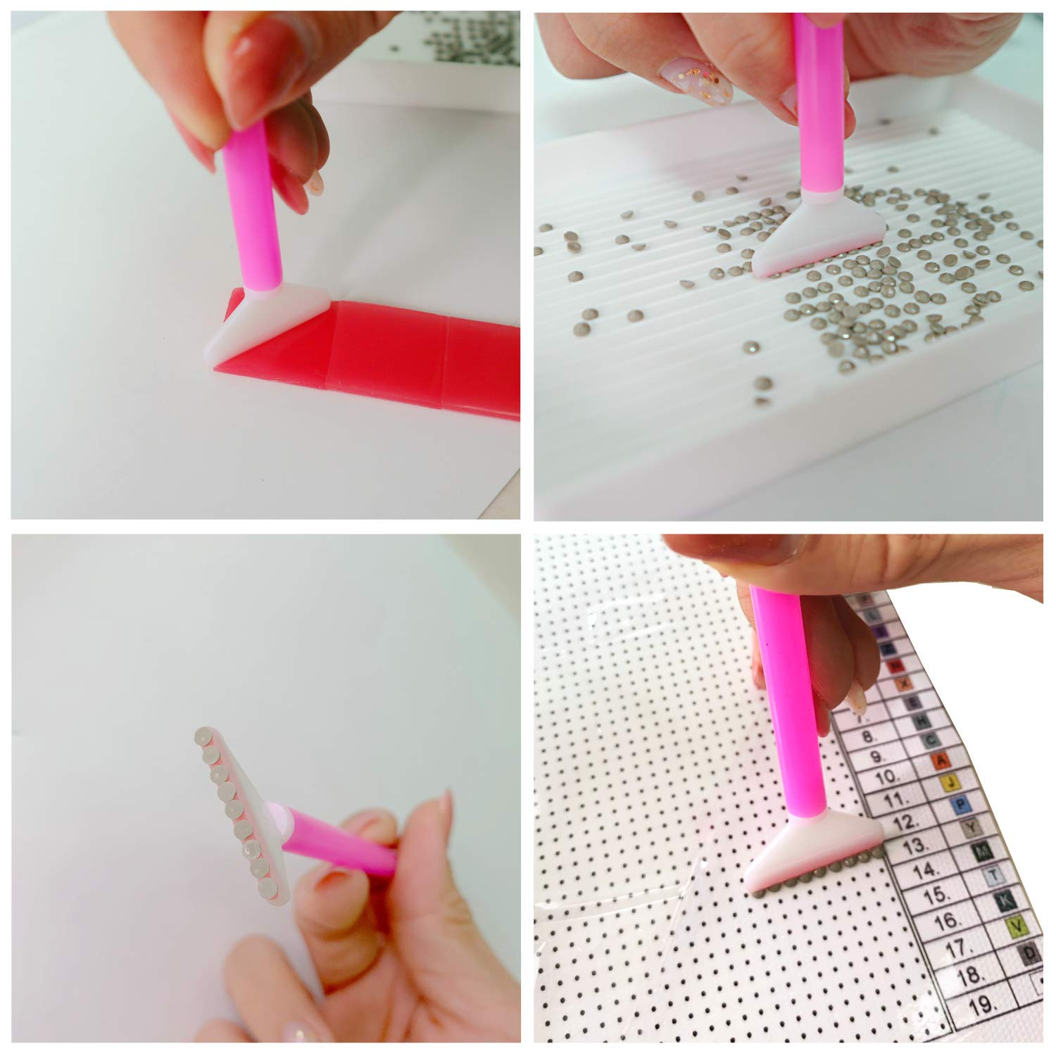 Plastic Trays Storage Box for 5D Diamond Painting Stitch Pens Lumsburry 215 Pieces DIY Diamond Painting Tools Set with Roller Tweezers Adhesive Tape