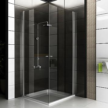 Duschabtrennung glas eckeinstieg  Eck-Dusche Rahmenlose Glas Duschkabine Duschabtrennung 80x80x195 ...