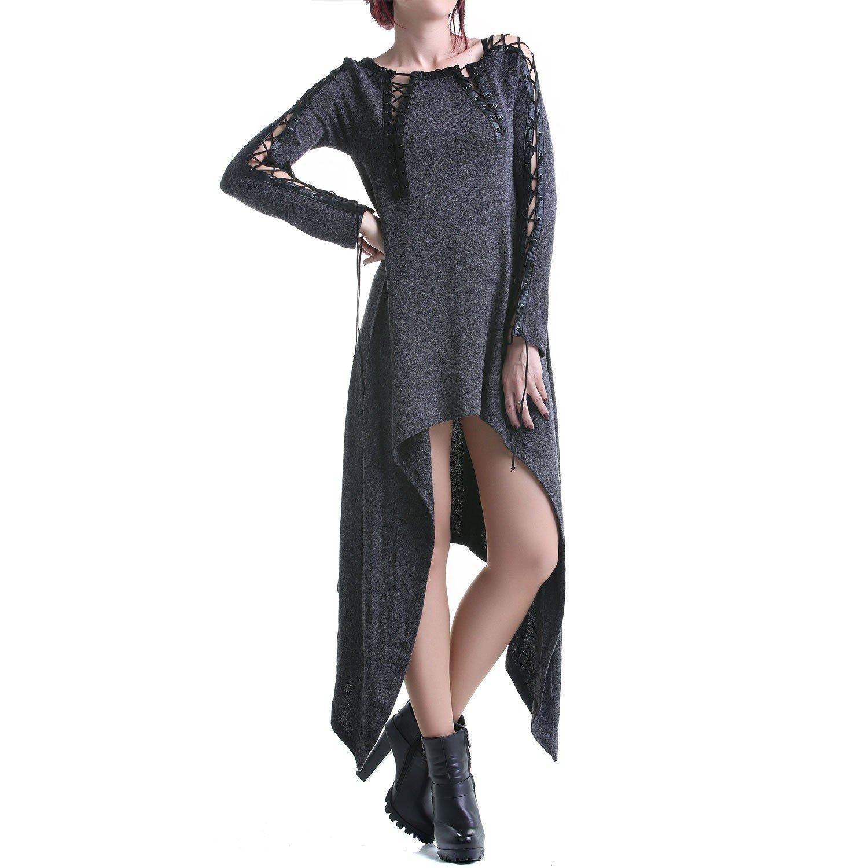 Graues Kleid mit Schnürungen günstig bestellen 3253199fc8