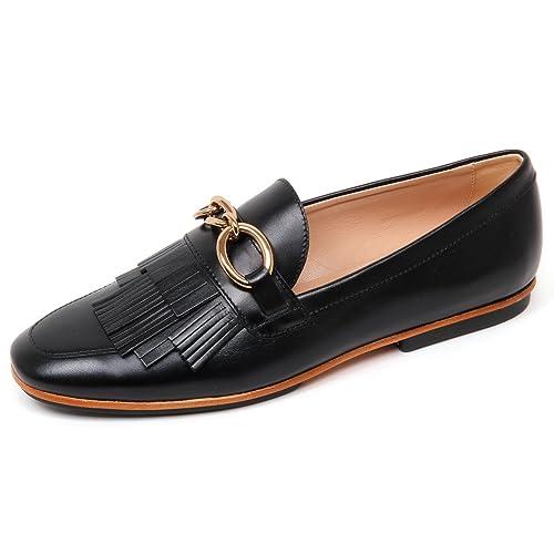 Loafer Donna Shoe Frangia Scarpa Woman Tod's Mocassino D0466 Nero 5qzY0