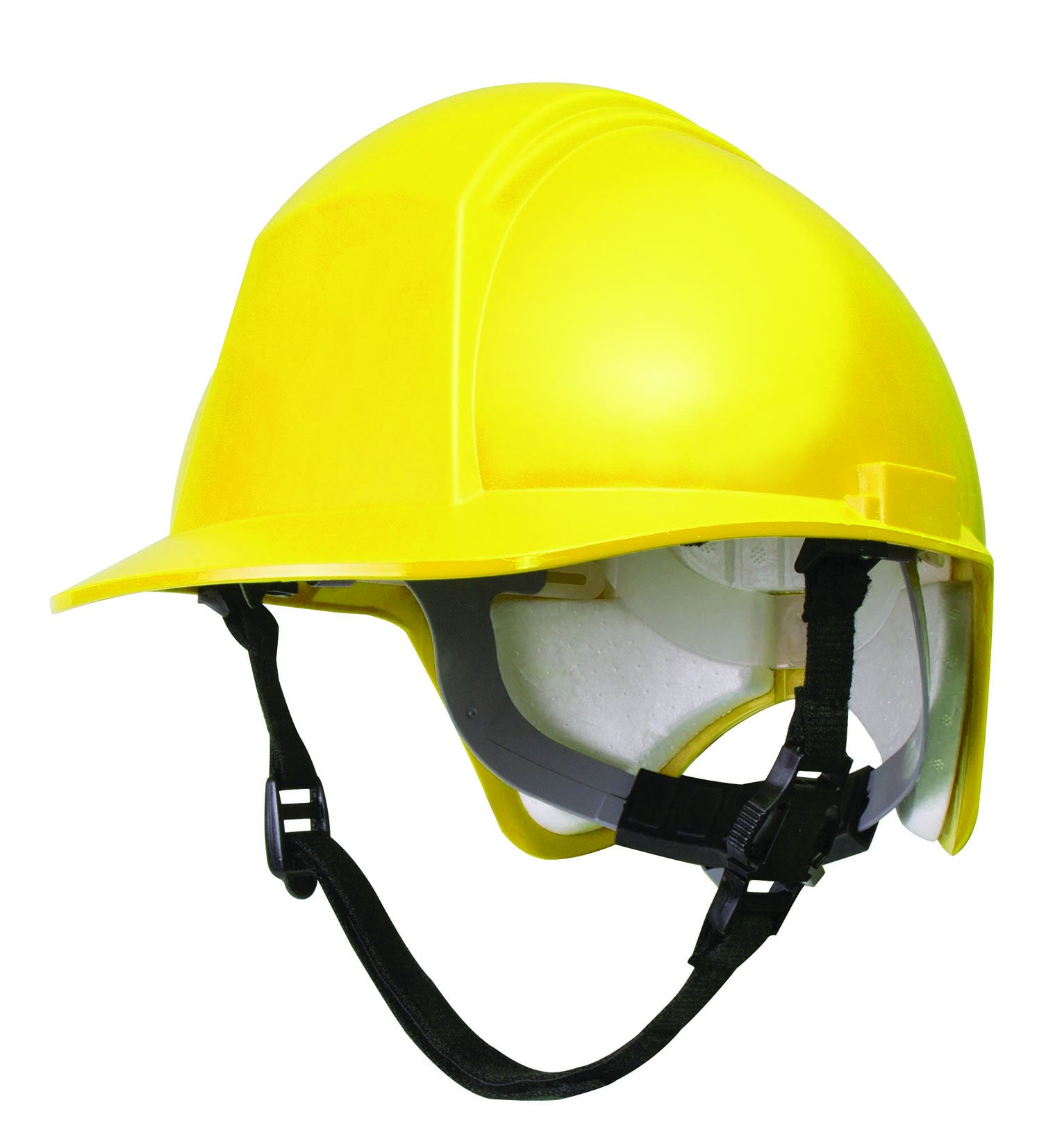 North by Honeywell CG8002 Force Hard Hat with Additional Back-Of-Head Protection, Ratchet Suspension and Chin Strap, Yellow by Honeywell