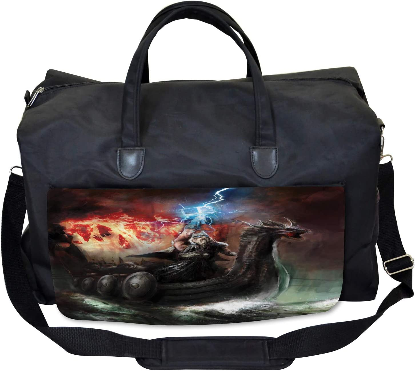 Ambesonne Fantasy Gym Bag Thunder Storm Vikings Large Weekender Carry-on
