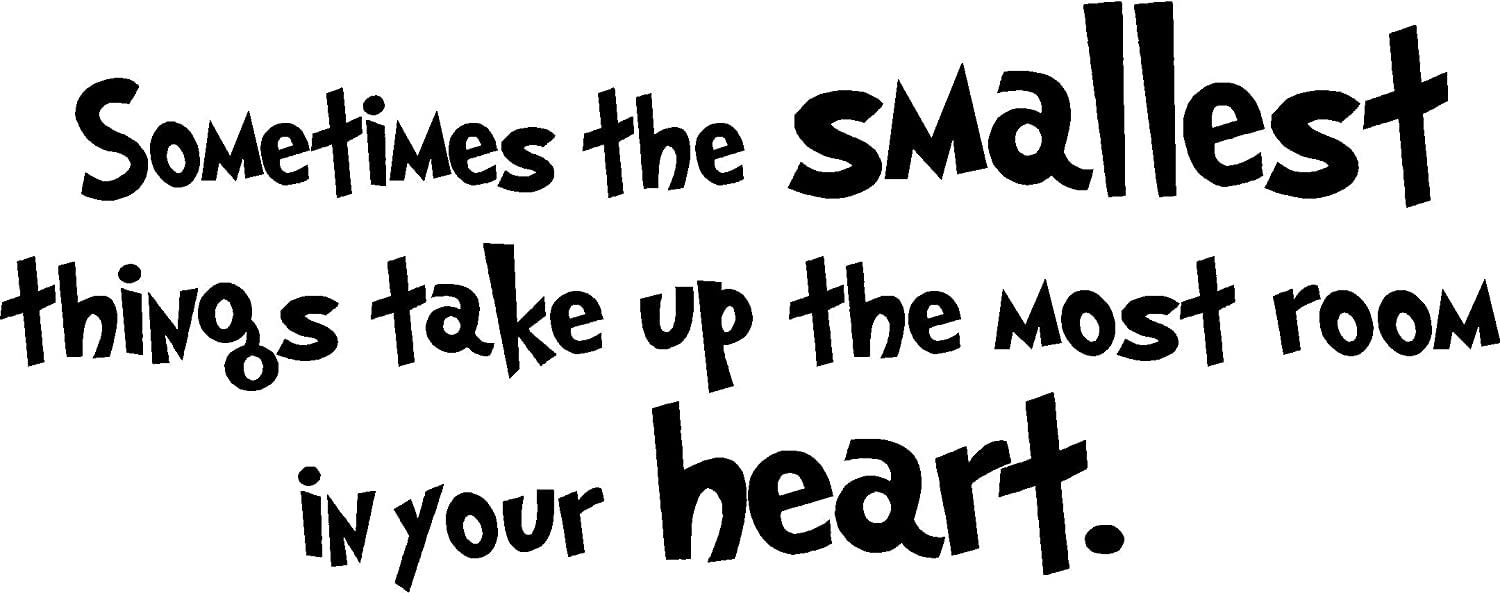 #2 Sometimes The Smallest Things take up The Most Room in Your Heart. Cute Nursery Wall Vinyl Decal Quote Art Saying Sticker Stencil Decor