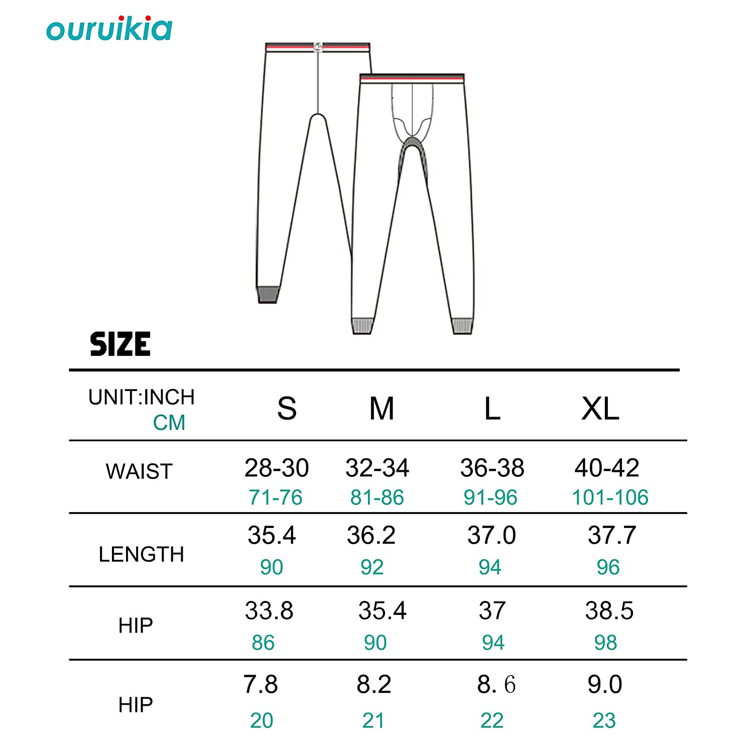 Ouruikia Mens Thermal Underwear Pants Long Johns Bottom Thermal Pants Separate Pouch