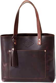 product image for Deluxe Leather Tote Bag for Women, Leather Handbag, Leather Purse, Monogram Tote, Made in the USA