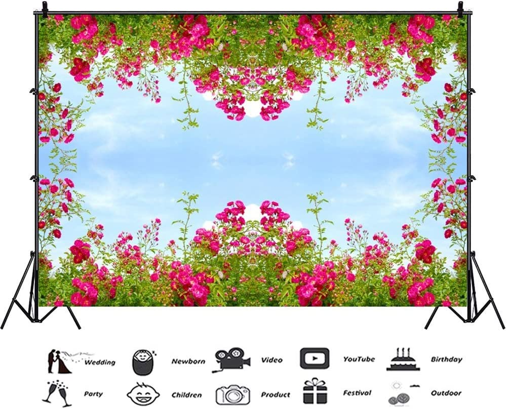 9x6ft Spring Blooming Red Flowers Polyester Photography Backdrop Clear Sky Spring Scenic Background Green Plants Romantic Wedding Photo Studio Newlywed Lovers Portraits Shoot Greeting Card