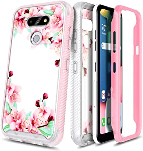 E-Began Case with Built-in Screen Protector for LG Aristo 5, Tribute Monarch/Phoenix 5/LG K8X/Fortune 3/Risio 4, Full-Body Shockproof Protective Rugged Matte Bumper Cover, Durable Case -Peach Blossom