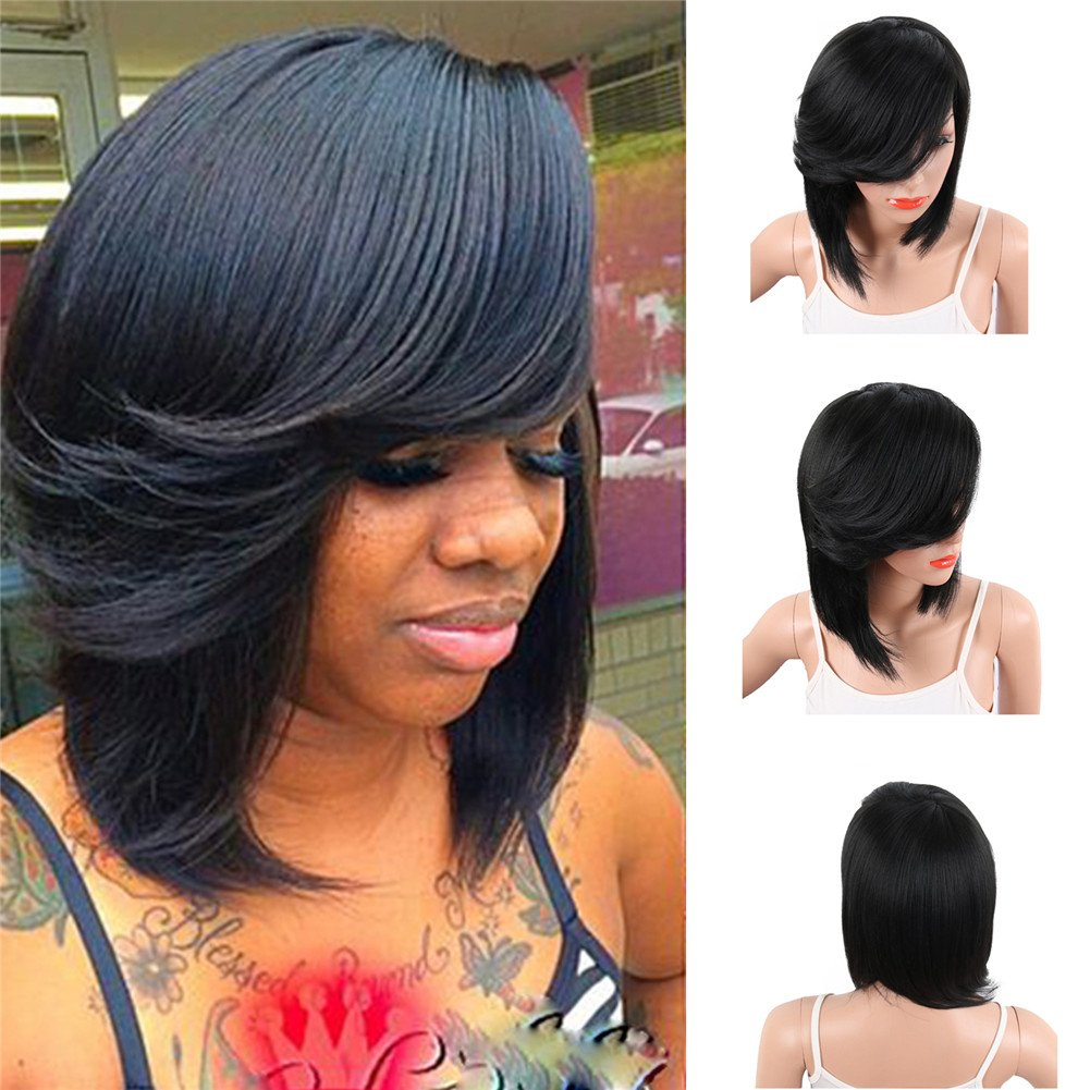 KRSI Short Pixie Cut Bob Synthetic Wigs for Black Women Natural Black Costume African American Wigs with Bangs Full Wigs That Look Real