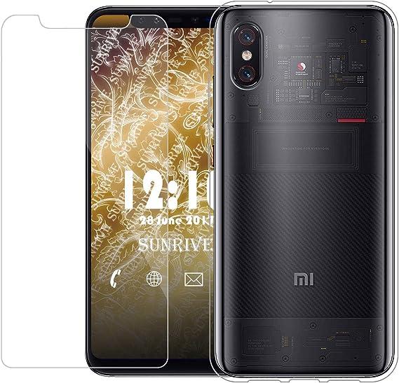 Sunrive para Xiaomi Mi 8 Pro, Protector de Pantalla de Cristal Vidrio Templado + Silicona Transparente Funda Cojín de Aire Carcasa Case Cover Bumper: Amazon.es: Electrónica
