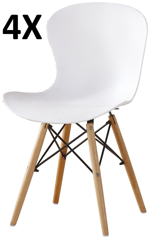 P&N Homewares® Alessia Eiffel Stuhl Aus Kunststoff Gerippt Retro Weiß , plastik, grün, 2er-Set