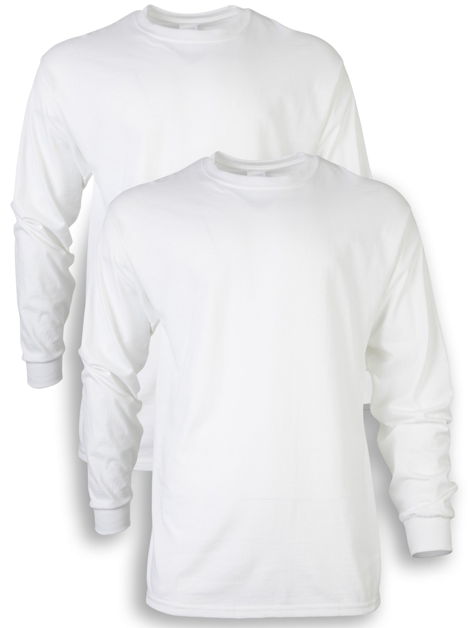 Gildan Men's Ultra Cotton Adult Long Sleeve T-Shirt, 2-Pack, White Large by Gildan (Image #1)
