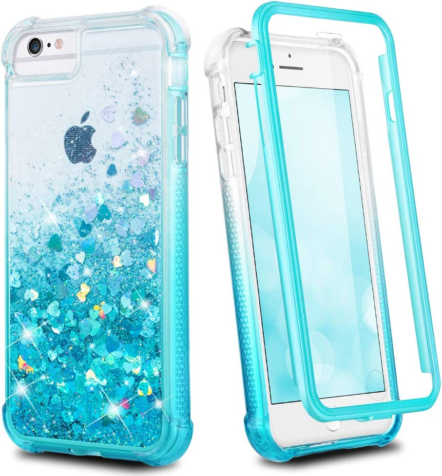 Ruky iPhone 6 Plus 6s Plus 7 Plus 8 Plus Case, Glitter Clear Full Body Rugged Liquid Cover with Built-in Screen Protector Shockproof Women Case for iPhone 6 Plus 6s Plus 7 Plus 8 Plus (Gradient Teal)