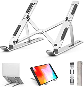 Laptop Stand Portable Laptop Stand 7-Level Height Adjustable Laptop Stand Ergonomic Foldable Computer Holder Compatible with 10-15.6''Laptops and Tablets (Silver)
