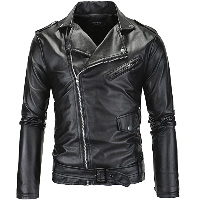 LANBAOSI Mens Leather Motorcycle Biker Jacket Police Style Faux Leather Jackets
