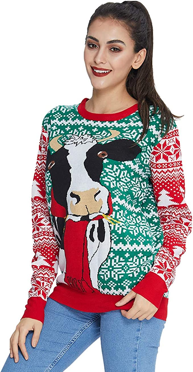 Idgreatim Women Men Ugly Christmas Sweaters Funny Cow Pullover Long Sleeve Tacky Ugly Christmas sweaters for women