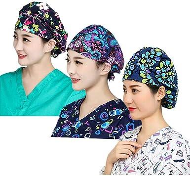 LTifree 3pc Womens Adjustable Scrub Cap Sweatband Bouffant Hats Value Set