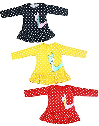 757e89cfc Babeezworld Regular Daily Wear Baby Girl Cotton Full Sleeves Vest Jhabla Frock  Dress Set (Kids Combo Pack Of 3)5011297001310: Amazon.in: Clothing & ...