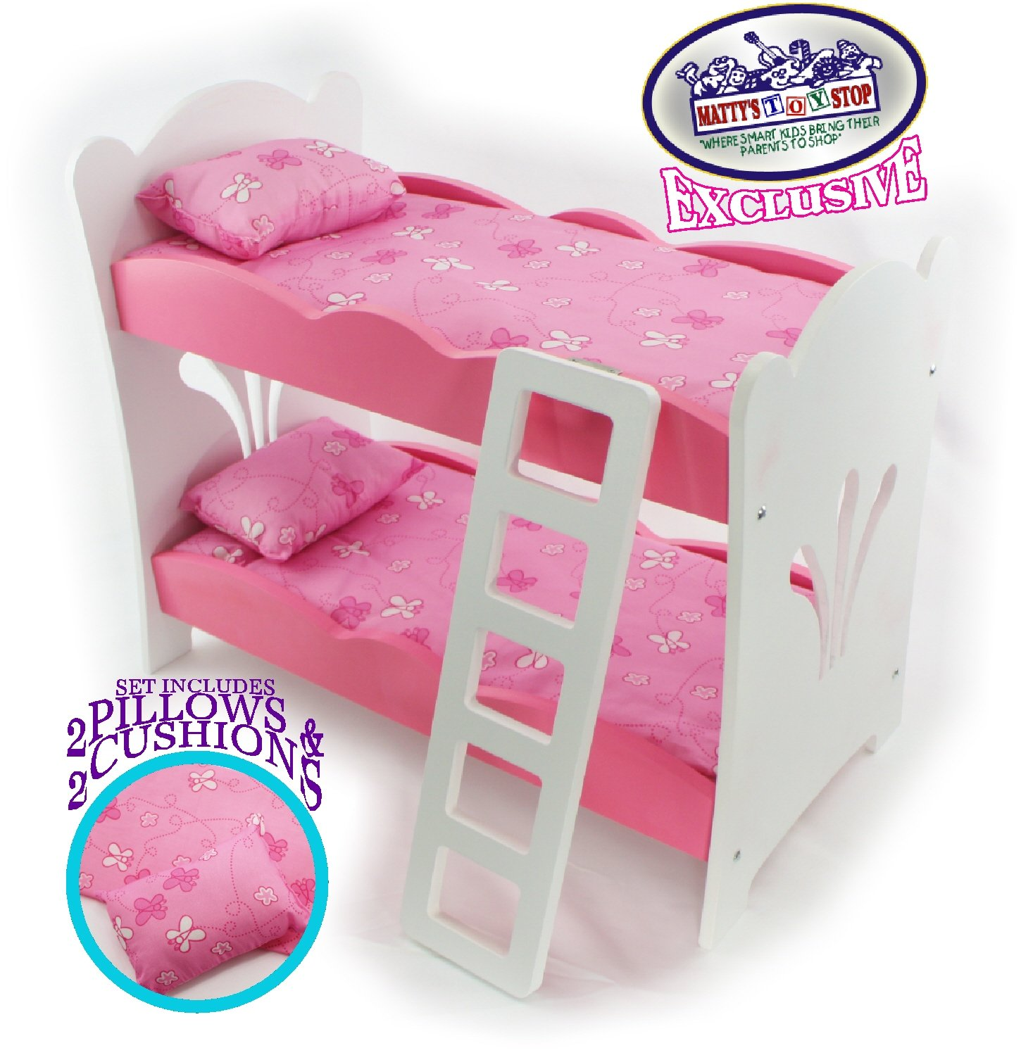 Matty's Toy Stop 18 Inch Doll Furniture Pink/White Wooden Bunk Beds with 2 Pillows, 2 Cushions & Ladder - Fits American Girl Dolls Homeware