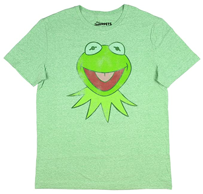 d7aef222 Disney The Muppets Men's Kermit The Frog Distressed Character T-Shirt  (X-Large