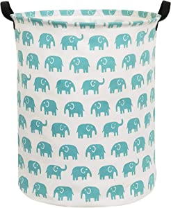 HIYAGON Canvas Storage Basket,Large Laundry Hamper with Handles-Collapsible Storage Bin for Kids Room,Nersury Hamper,Toy Storage 19.7×15.7(Blue Elephant)