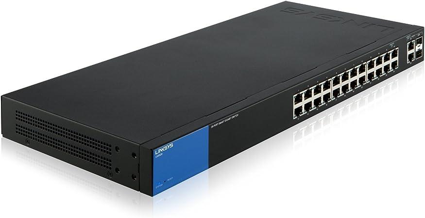 Oferta amazon: Linksys LGS326-EU - Switch Gigabit para Empresas de 26 Puertos (Seguridad Avanzada, QoS, instalación y gestión Sencillas), Negro y Azul