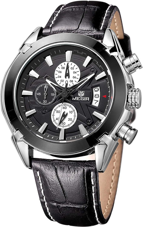 Megir - Reloj de Pulsera para Hombre Deportivo de Cuero con cronógrafo Militar, analógico, de Cuarzo, multifunción
