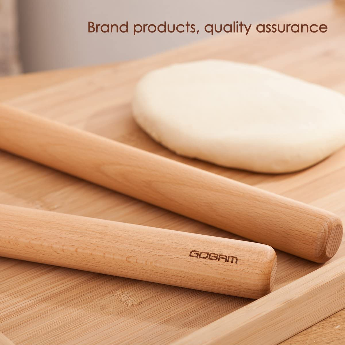 GOBAM Wood Rolling Pin Dough Roller Classic for Baking Pie Pizza,13 x 1.38inches