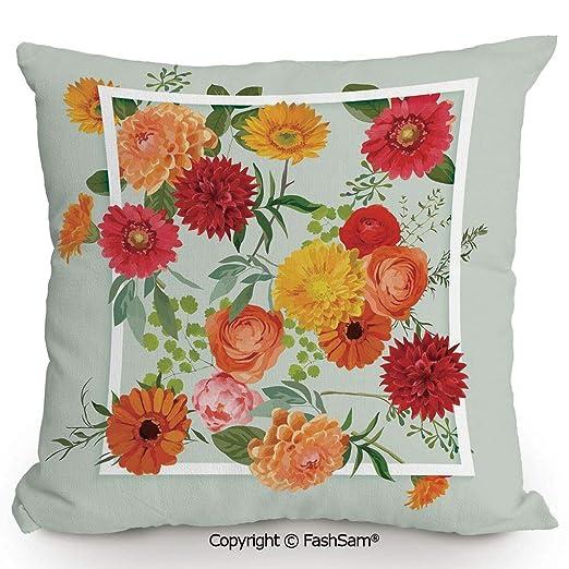 FashSam - Cojín de poliéster con diseño de Flores y Hojas ...